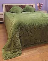 Плед покрывало меховое  Травка Мишка Страус Пушистик  Темно - зеленый