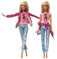 Кукольный костюм штаны, майка и рубашка для куклы Барби