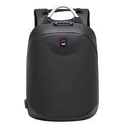 Рюкзак  с USB-разъемом и таможенным замком черный.