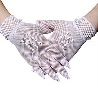 Перчатки кружевные белые короткие
