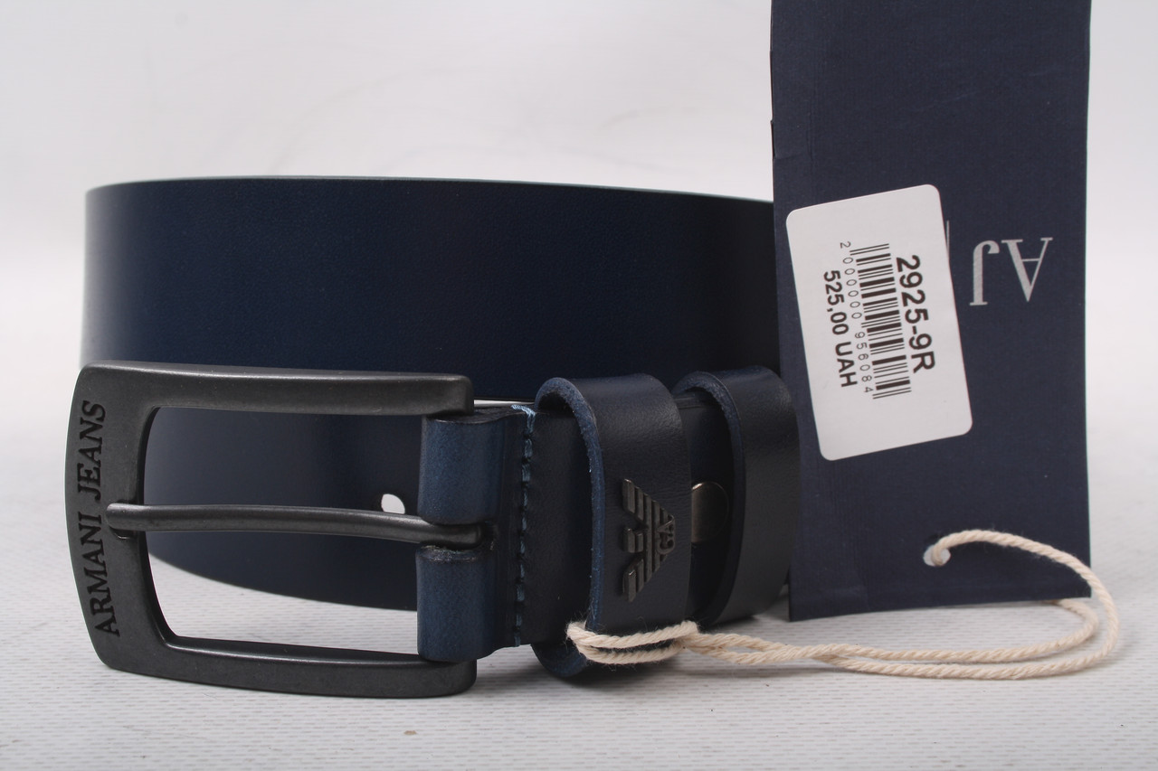 Ремень мужской джинсовый, цвет синий, натуральная кожа