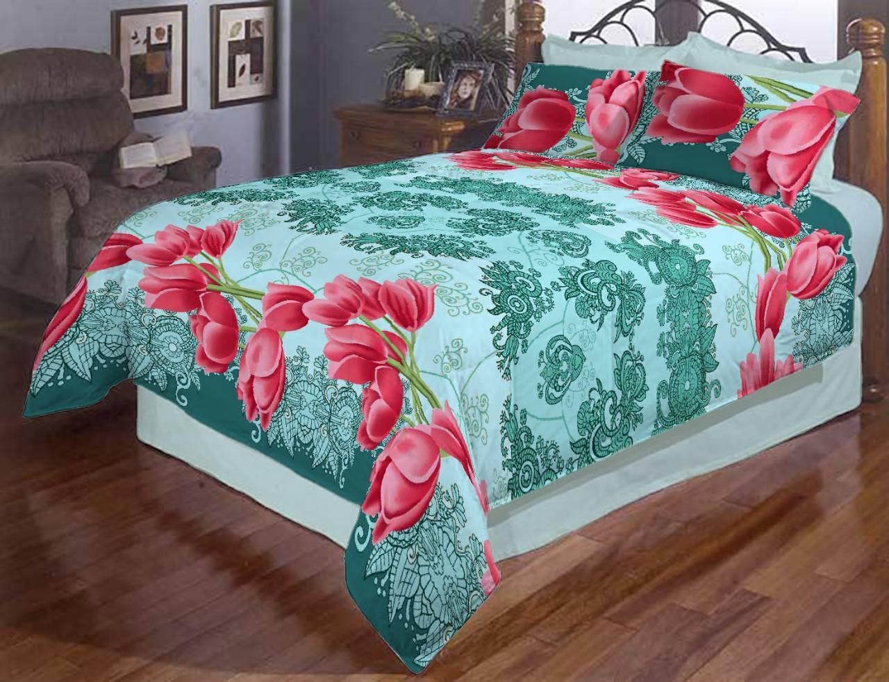 Комплект двуспального постельного белья Тюльпаны на бирюзовом