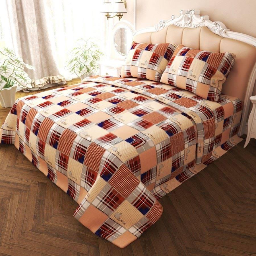 Комплект двуспального постельного белья Епл коричневый