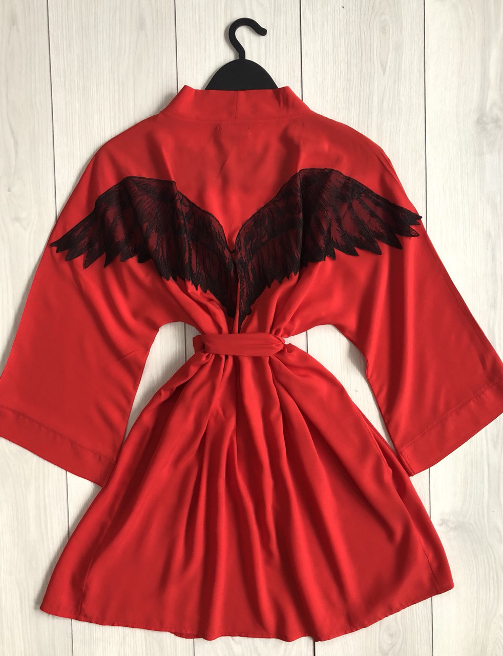 Красный женский халат-кимоно  Ангел, на запах, под пояс