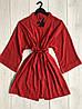 Красный женский халат-кимоно  Ангел, на запах, под пояс, фото 3