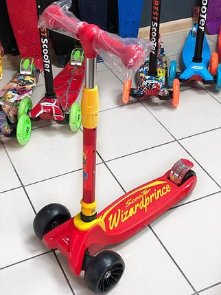 Детский самокат Трехколесный Scooter Smart - Wizard - Red / Складная ручка, фото 2