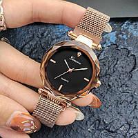 Женские часы Geneva Shine rose gold black, Жіночий наручний годинник, кварцевые часы Женева, фото 1