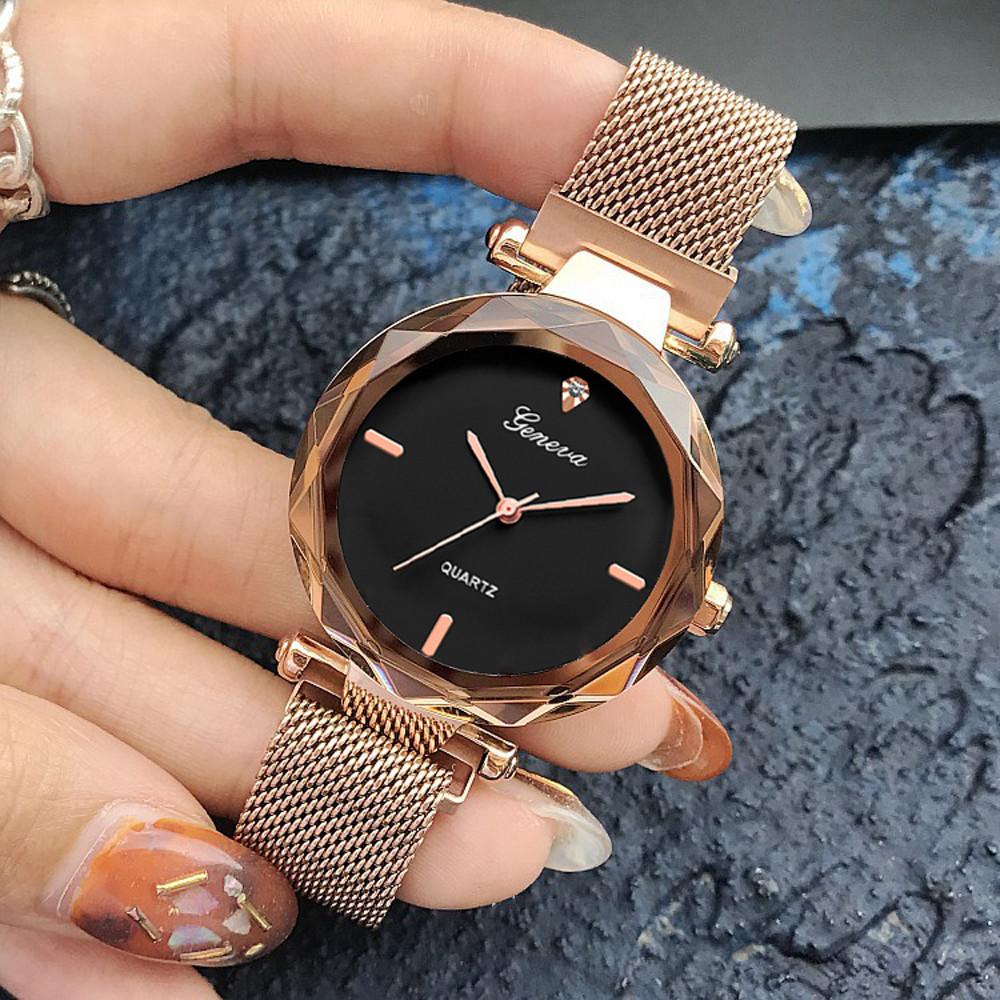 Женские часы Geneva Shine rose gold black, Жіночий наручний годинник, кварцевые часы Женева