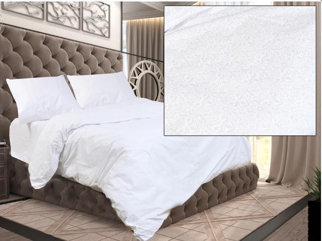 Комплект двуспального постельного белья Белый завиток на белом