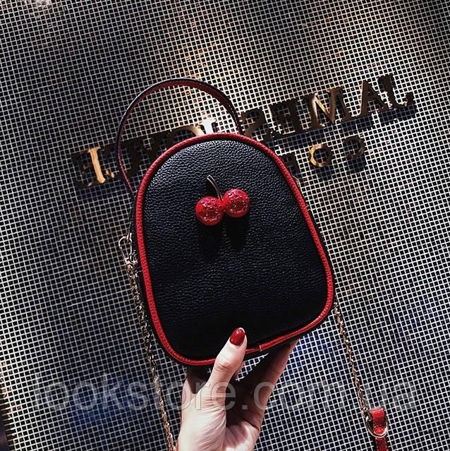 Маленькая женская сумка Cherry черная, фото 1