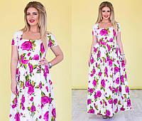 """Длинное летнее платье в цветочек """"Violetta"""" с карманами и коротким рукавом (большие размеры)"""