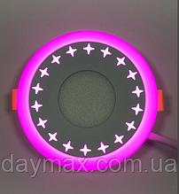 """LED світильник 3+3w """"Зірки"""" c рожевої підсвічуванням / LM535 LED панель Lemanso"""