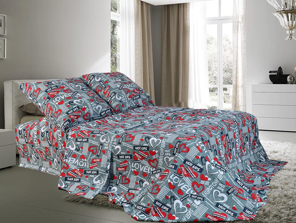 Комплект двуспального постельного белья Сердечки красные