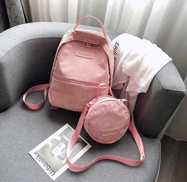 Рюкзак для девочки подростка вельветовый с сумочкой розовый.