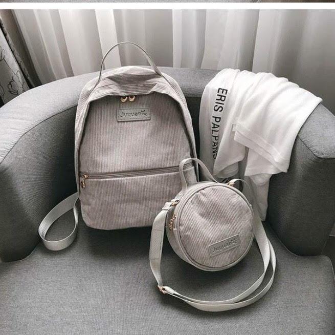 Рюкзак для девочки подростка вельветовый с сумочкой серый.