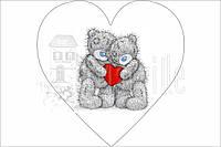 "Фетр мягкий с рисунком ""Панелька: Тедди в сердце Пара"" 20х20см"