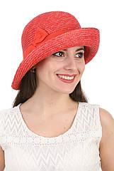 Шляпа из соломы женская ассиметричная красная