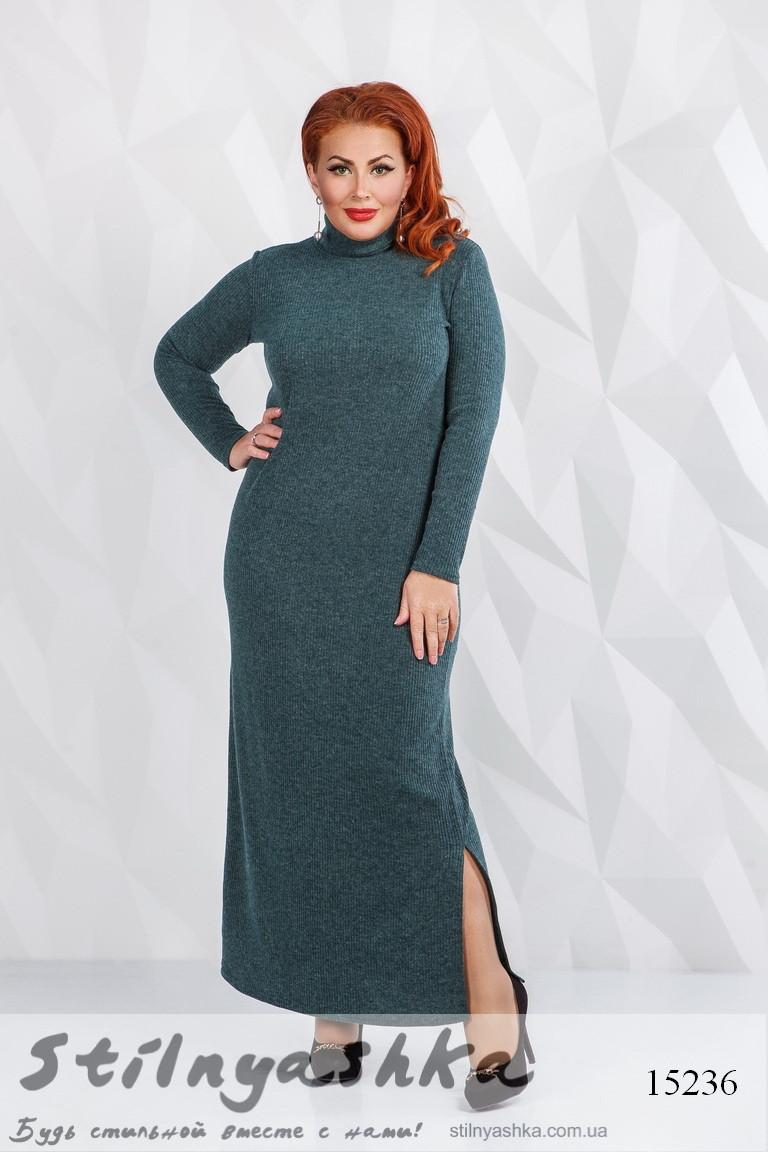 38b03a8a07a Ангоровое длинное платье большого размера в рубчик бутылка - Интернет- магазин