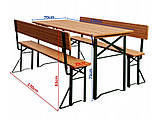Пивной стол с лавками и спинкой  170 х 70см, фото 4