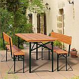 Пивной стол с лавками и спинкой  170 х 70см, фото 6