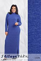 Ангоровое длинное платье большого размера в рубчик индиго, фото 1