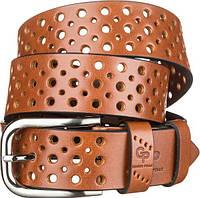 Ремень с перфорацией отверстиями универсальный джинсовый натуральная итальянская кожа коричневый РМ711052