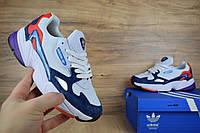 Женские кроссовки демисезонные Adidas Falcon белые с синим Реплика Хорошего качества, фото 1