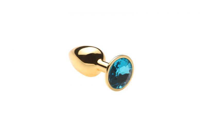 Золота пробка з блакитним каменем, розмір S + Чохол
