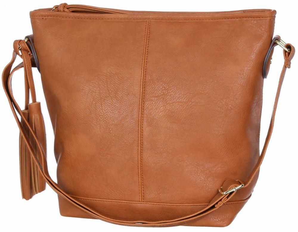 Модна коричнева м'яка жіноча сумочка польський бренд, на ремені Сумка з нюансом FB1062