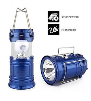 Ліхтар трансформер кемпінговий (туристичний) світлодіодний на акумуляторі (3 в 1), зарядка 220V + сонячна
