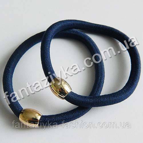 Резинка для волос с золотой бусиной 5,5см, темно-синяя