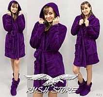 Женский махровый халат фиолетовый