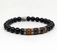 Мужской браслет – браслет из бусин – браслет из натурального камня – браслет из камня тигровые глаза-(L-745)