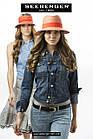 Женская шляпа федора голубая, фото 3