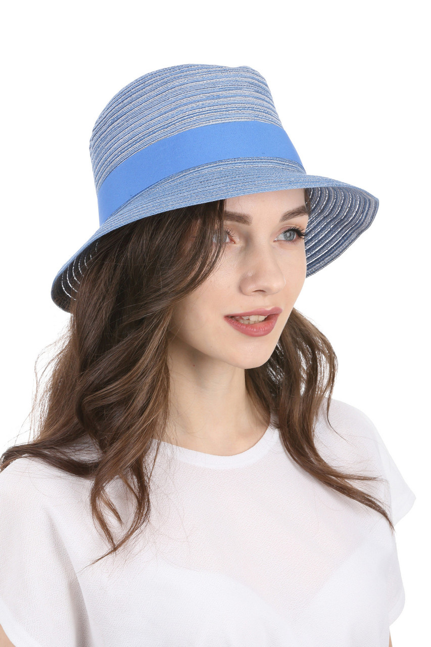 Женская шляпа федора голубая