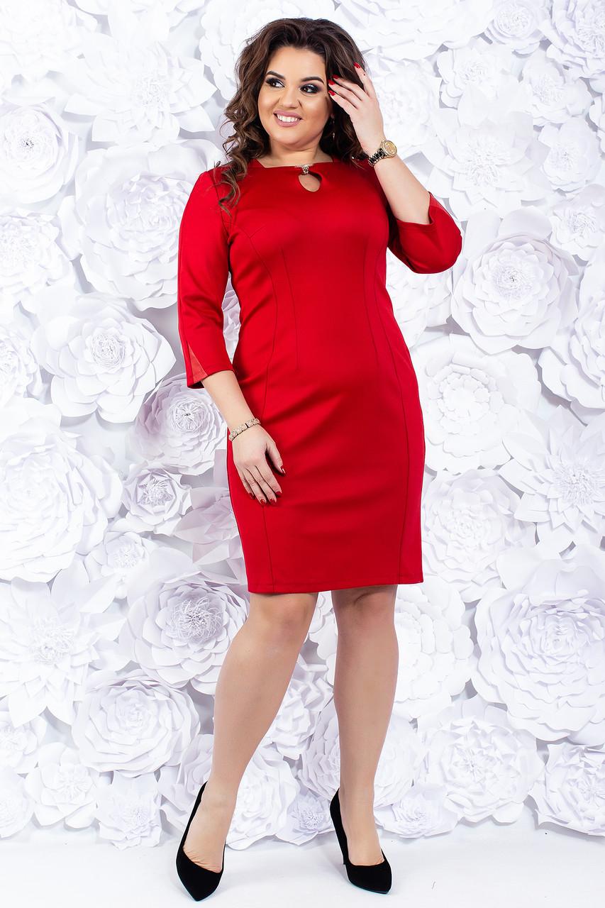 Короткое вечернее платье 46-52 р ( красный, электрик )