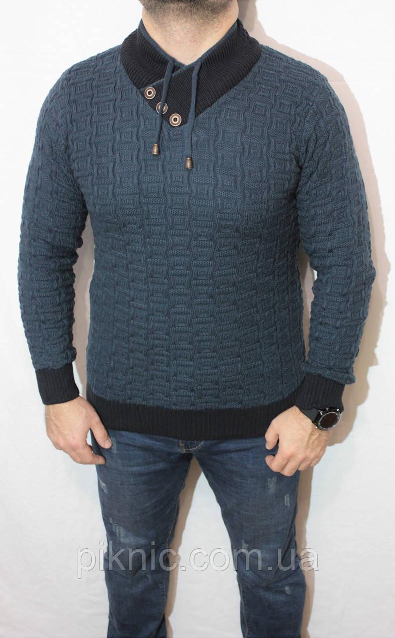 Молодежный свитер Турция М, XL. Джемпер шерстяной мужской приталенный, для стройных, высоких мужчин.