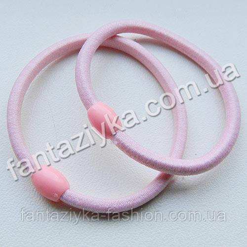 Светло-розовая резинка для волос с бусинкой 5см