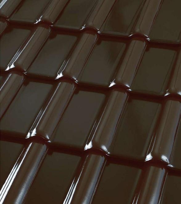 Черепица керамическая ROBEN Piemont (Робен Пьемонт) Черно-коричневая глазурованная