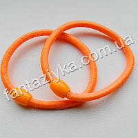 Оранжевая резинка для волос с бусинкой 5см