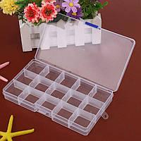 Пластиковый органайзер с крышкой для украшений и мелочей на 15 ячеек