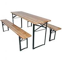 Деревянный пивной стол с лавками 177 х 46 см