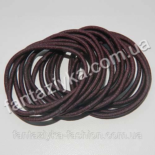 Тонкая резинка-червяк для волос 5см, коричневая