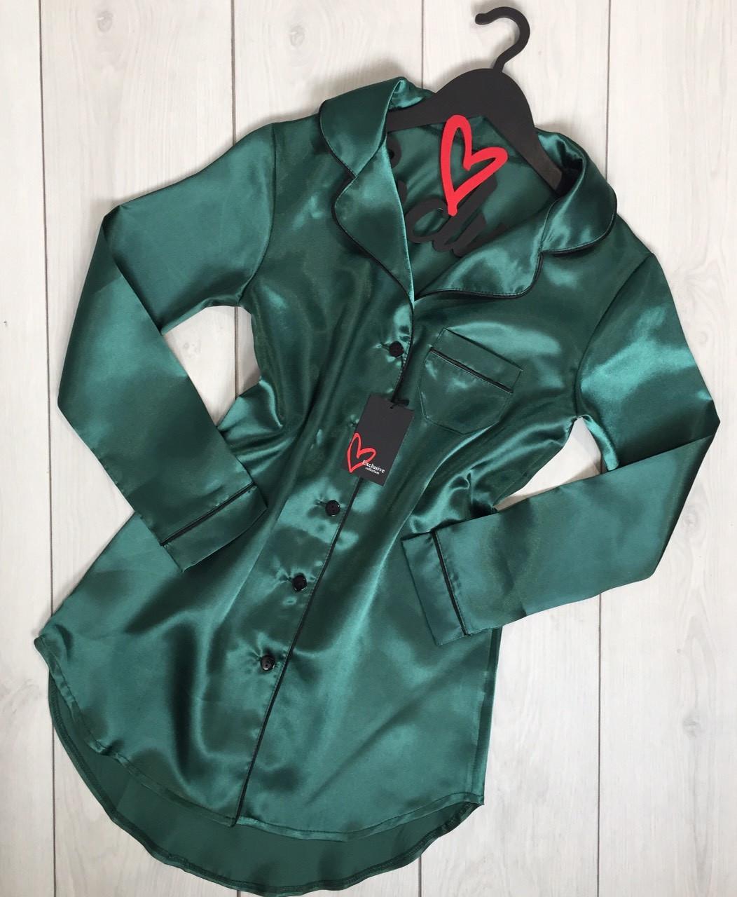 Изумрудное платье-рубашка, домашняя женская одеждаТМExclusive