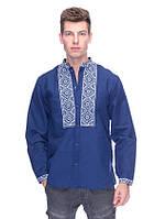 Классическая рубашка с вышивкой (вышиванка) синяя, арт. 4220