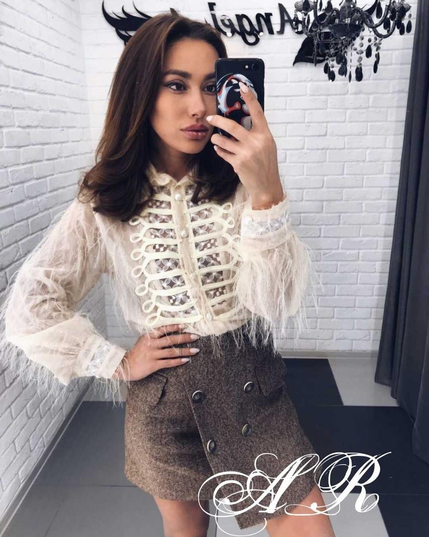 Блуза травка с тесьмой