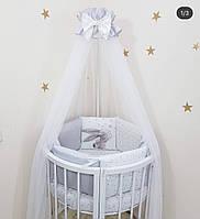 """Комплект в ліжечко """"Magic зайченята"""" сірий для круглої/овальної і стандартної ліжечка"""
