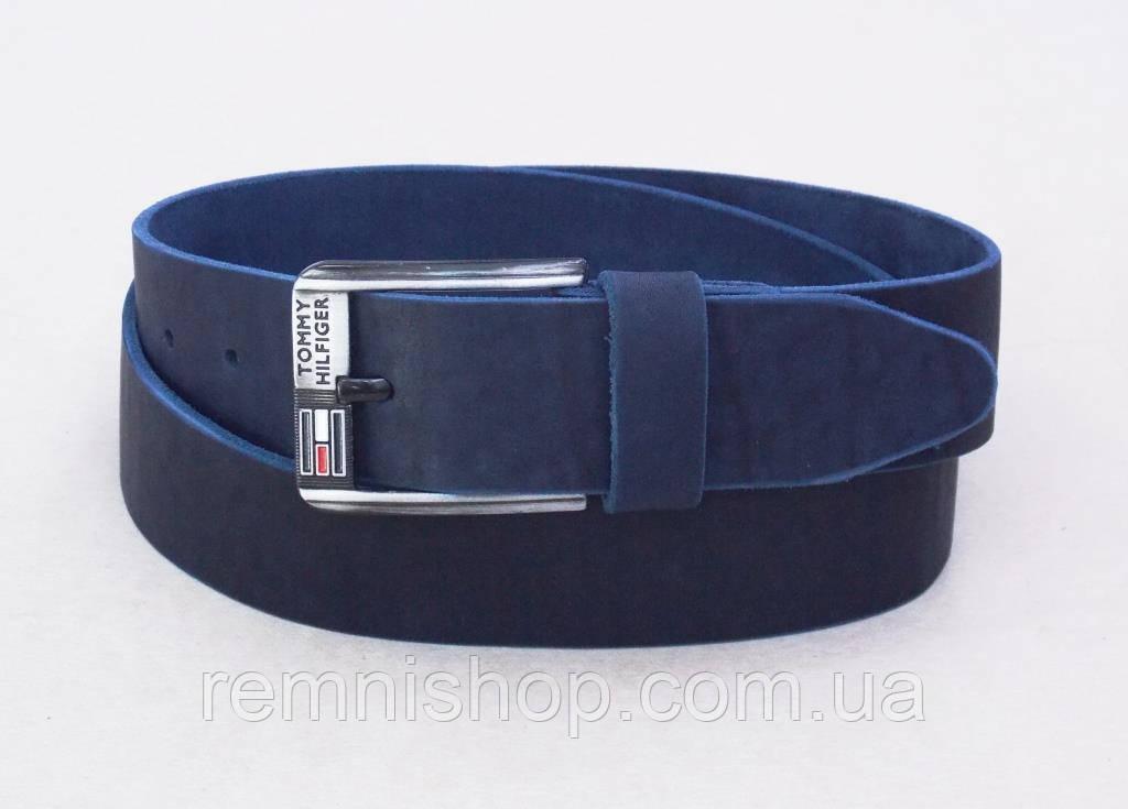 b80df9ed2222 Кожаный мужской широкий ремень Tommy Hilfiger синий