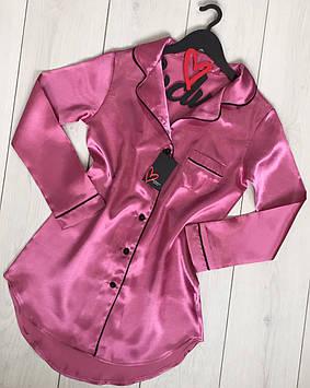 Молодежное домашнее платье-рубашка терракотового цвета