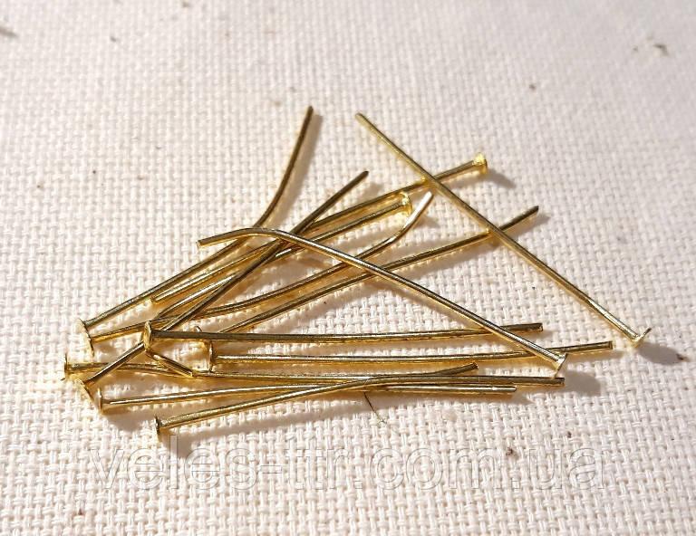 Пины гвоздики 3.5 см золото 10 грм /65 шт/ бижутерные